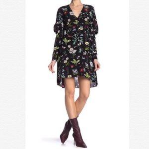 Joie Tamarice Black Floral Hi-Lo Mini Dress